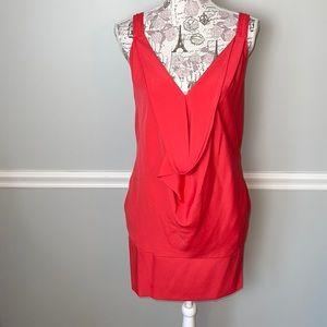 Love 21 Orange Drape Front Dress Small
